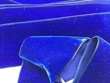Vintage Swiss Velvet Ribbon in royal blue  /ruban velours ancien bleu. 2''