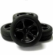 HS211045B 1/10 On Road Soft V Tread Car RC Wheels and Tyres 5 Spoke Black x 4