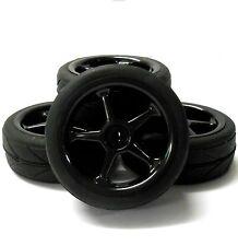 HS211045B 1/10 On Road Soft V Tread Car RC Wheels and Tyres 5 Spoke Black x 4