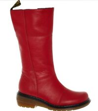 DR MARTENS Red Leather Charla Calf Boots UK 3, UK 4, UK 5