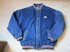 VINTAGE 1990's Starter Sport Denim Varsity Bomber Jacket Sz L Hard to Find