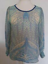 Dorothy Perkins Sea Blue Blouse Long Sleeved shirred elasticised cuff Size 18
