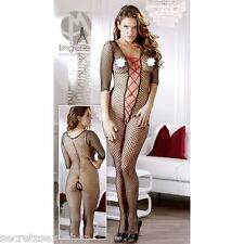 tuta rete catsuit bodystocking tutina con stringatura intimo donna sexy shop