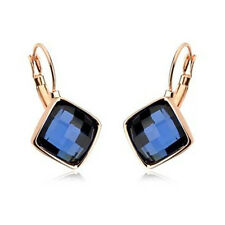 ITALINA 18K ROSE GOLD PLATED GENUINE SAPPHIRE BLUE CUBIC ZIRCONIA  EARRINGS