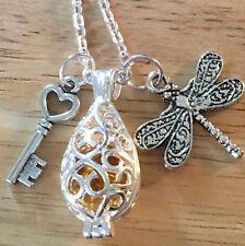 Outlander Dragonfly Amber Lallybroch Key Locket Diffuser Scottish Irish Necklace