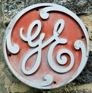 "GE 13"" General Electric Logo Cast Aluminum Sign/Plaque Antique Industrial Advert"