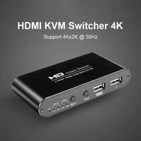 2 Port HDMI KVM 4K 340MHz Switcher Splitter for Sharing Monitor Keyboard Mouse