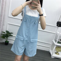 Womens Girl Cotton Overalls Bib Romper Jumper Suspender Short Pants With Pockets