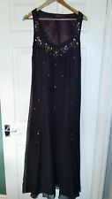 """Womens Long Brown Embellished Per Una Dress. Size 12. Fits a 36"""" Bust."""