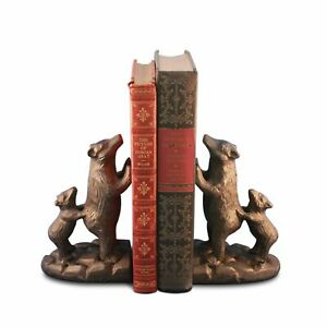Bear Family with Cubs Bookends Figurine - Metal - Cast Iron - Pair