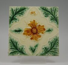 ART NOUVEAU C.1920 MAJOLICA FLORAL TILE MADE IN ENGLAND