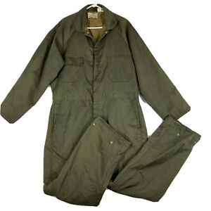 VTG 1960's Sears Roebuck Workwear Insulated Suit Coveralls Jumpsuit 42 Green