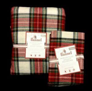 Pottery Barn Kids Morgan Plaid Organic Flannel Full/Queen Duvet & 1 Case red