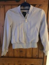 New Look Grey Cropped Bomber Jacket - Size 6 Petite