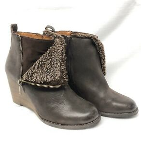Lucky Brand Brown Fur Wedge Boots Side Zip Womens Size 7.5