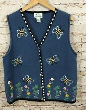 Quacker Factory Vest Womens large Bumble Bee Sequins Sweater Blue floral F8