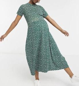 Wednesday's Girl Smock Dress Maternity Size 14 Green Smudge Spot new JB39