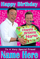ANT and DEC Personalised Birthday Card 1 ANY NAME / AGE / RELATION !! FUNNY