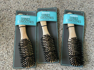 Lot of 3 Conair Wood All-Purpose Boar Hair Brush NIP