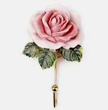 A Pair Coat Hook Wall Rose Flower Pink Home Decor Bathroom Hall Bedroom X 2