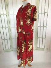 K Petite 2 PC Red Ivory Tropical Floral Tunic Dress Size 14P w/ Button Down Top