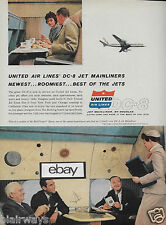 UNITED AIR LINES DC-8 JET MAINLINERS 1959 F/C LOUNGE BUSINESSMEN WITH F/A AD