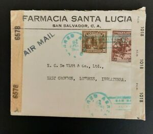 4 El Salvador WWII double censored covers to the UK and 1 to Germany