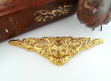 BRASS Large Scrolling Floral Flower & Leaves Stamping - Jewelry Finding (FC-6)