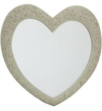 Heart Wall Mirror in Cream with French Engraved Roses - 110cm