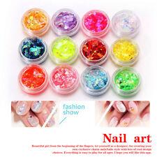 12 Colors DIY Nail Art PAcrylic Glitter Shinny Mixture Ice Mylar Shell Paper Set