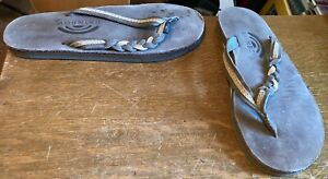 RAINBOW SANDALS WOMENS BROWN LEATHER-TWIST STRAP-SIZE 5.5-6.5-PREOWNED-SPRING!