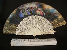 Antique French Hand Held Carved Painted Fan Mother Of Pearl Button COBALT GOLD