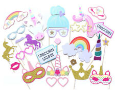 26PCS Unicorn Photo Booth Prop Girl Birthday Party Supplies Decorations On Stick
