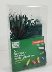 HOME ACCENTS 50 WARM WHITE TO MULTICOLORED LED BATTERY OPER W/ TIMER CHRISTMAS