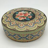 Vintage 70s Dutch Metal Cookie Candy Tin Mosaic Embossed Colorful Floral Holland