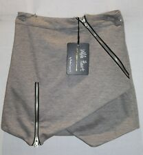 WILDE HEART Brand Grey Asymmetrical Zipper Skirt Size 6 BNWT #TC41