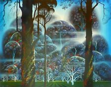 """Eyvind Earle """" MIST IN THE DARK WOODS """" Hand signed numbered Serigraph 1992"""