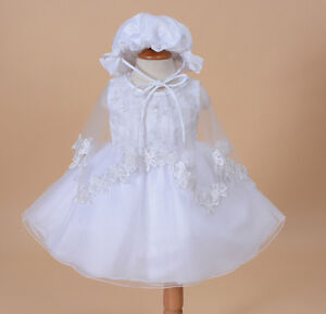 Baby Christening Party Dress Cape Bonnet in White Ivory 0 3 6 12 18 24 Months