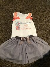 """2 Piece """"Be A Pineapple"""" Girls Outfit Size 4-5"""