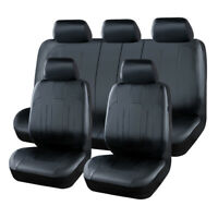 Classical Universal Black Luxurious Leather Car Seat Covers Split Rear 9 PCS