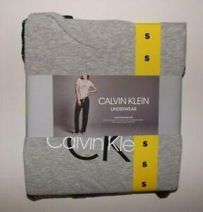 CALVIN KLEIN Womens Pajamas Set Gray S/S T-Shirt Black Pants Sz S Small NWT