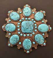 Classy Blue Turquoise Colored Stones Flower Belt Buckle Boucle de Ceinture Fleur