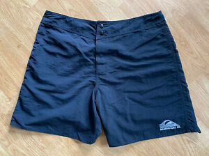 Rare Vintage Men's Black Button Fly Quiksilver 100% Nylon Surf Board Shorts 36