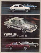 DODGE 1982 Stati Uniti Mercato Opuscolo 400 Aries Omni 024 COLT Challenger RAM Mirada