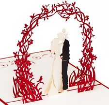 "3D Pop up Hochzeitskarte ""Paar unter Blumenkranz"", Liebespaar, primetea"