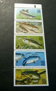 US Booklet Panes Scott# 2209a Fish  MNH Pane of  5  (see note)L328
