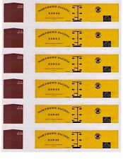 6 Northern Pacific wood-era yellow boxcars, Ho scale printed reefer sides