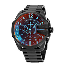 BRAND NEW DIESEL DZ4318 BLACK ION-PLATED MEGA CHIEF CHRONOGRAPH MENS WATCH
