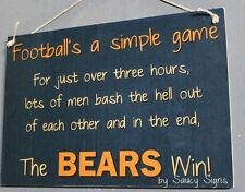 Simple Game Chicago Bears Sign Handmade Rustic Football Bar Jersey Tickets Cards