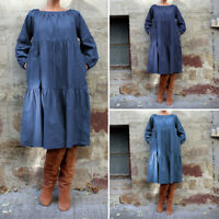 Plus Size Women Long Shirt Dress Denim Ruffle Loose Pullover Dress Size 8-24